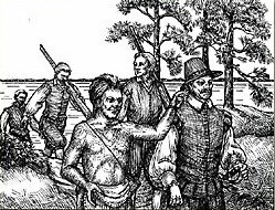 A line drawing showing Manteo, the Algonquian, guiding Englishman Sir Richard Grenville.