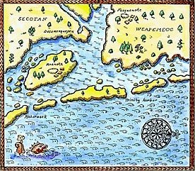 Early map of the area around Roanoke Island