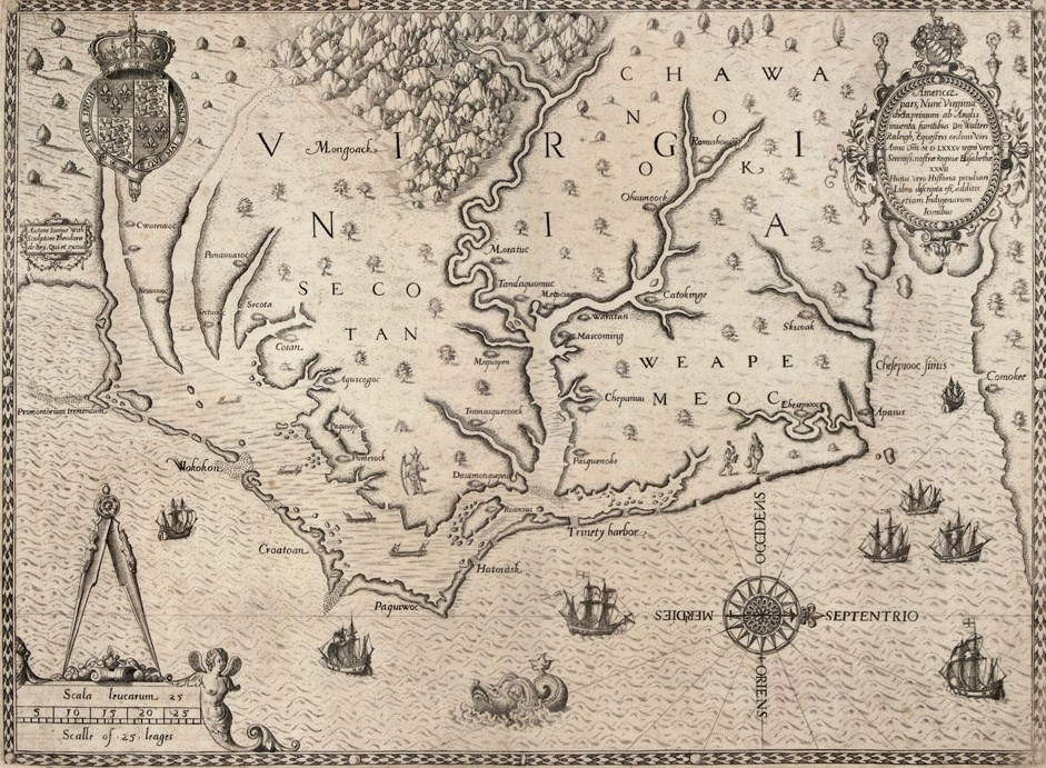 White and De Bry map from 1590