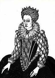 A line drawing of Queen Elizabeth I