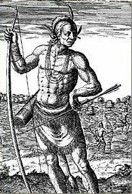 "A Theodor De Bry engraving after a John White painting shows a ""great Lorde of Virginia"" with bow and arrow."