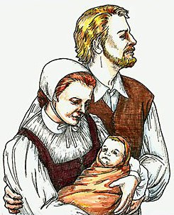 A man, woman and infant: Ananias, Eleanor and Virginia Dare