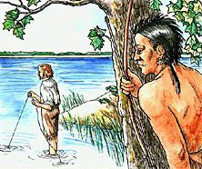 An Indian watches a colonist fishing in the sound