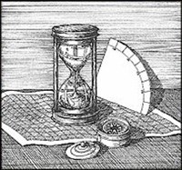 This drawing shows some important navigational tools, including a compass, an hourglass and a quadrant.