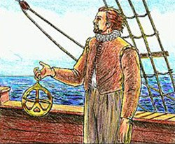 A man carries an astrolabe on the deck of a ship.