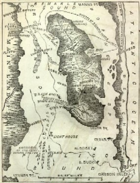 Map of Roanoke Island during the Civil War era.