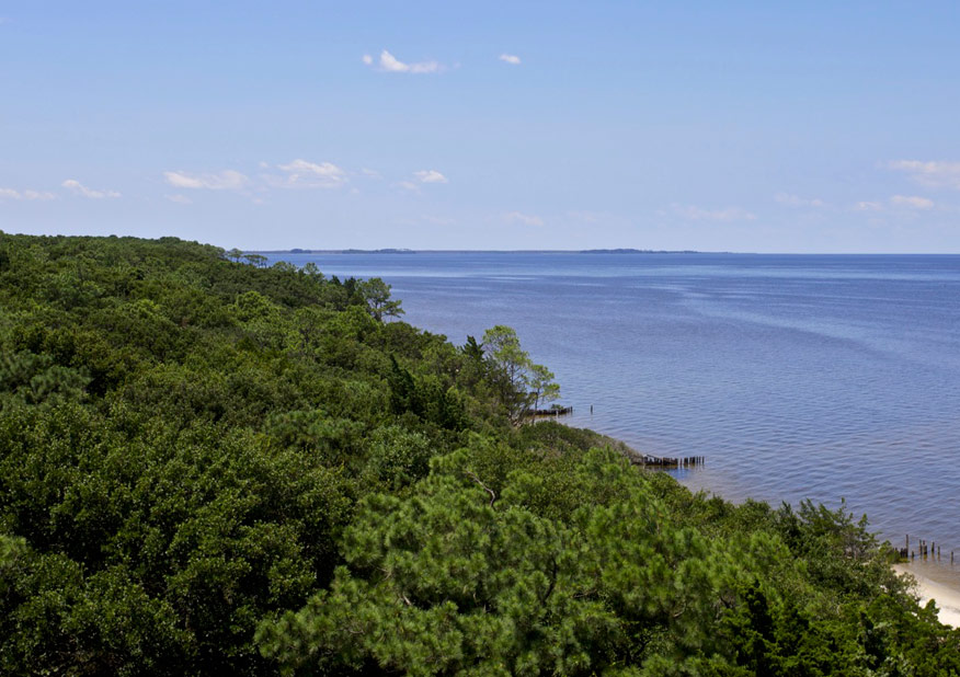 Aerial view of Roanoke Island and Albemarle Sound