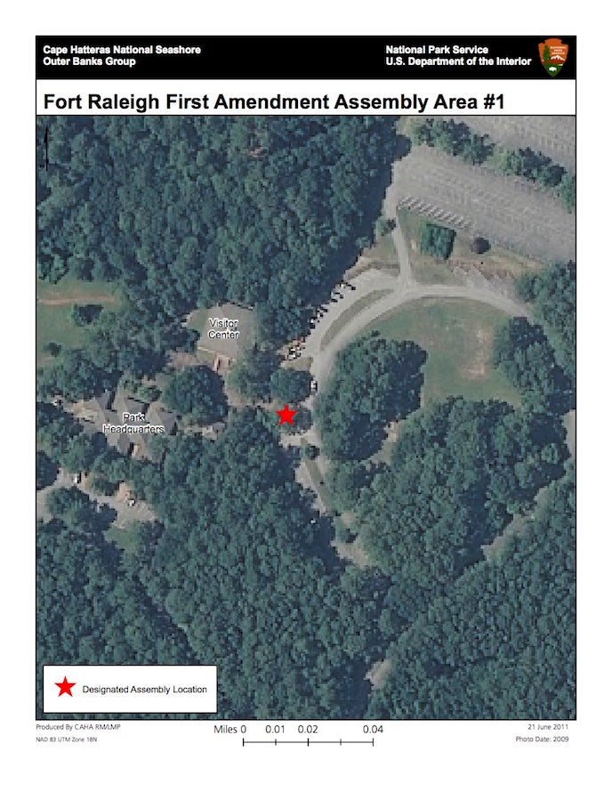 Fort Raleigh First Amendment Assembly Area near Visitor Center