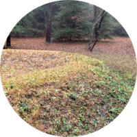 Part of the reconstructed 1585 earthwork