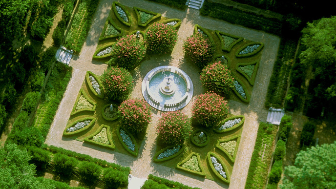Aerial view of the sunken gardens.