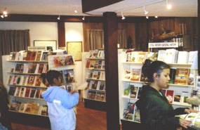 Visitors in bookstore at Fort Scott NHS