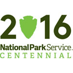 NPS Centennial Logo for 2016 with arrowhead representing the 0 in 2016