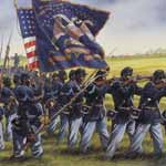 Artwork showing black soldiers with guns and their regimental flag
