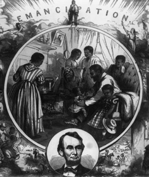 Photo showing emancipation with picture of Lincoln below