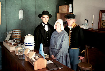Nevada High school students portray the sutler, his wife, and a soldier