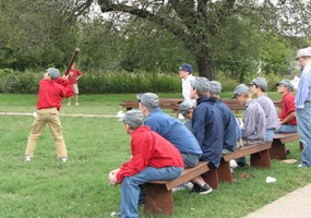Reenactment of Civil War Baseball game at Fort Scott NHS