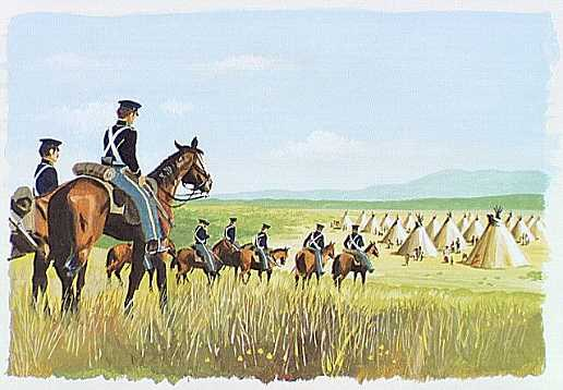 soldiers riding on horseback going toward group of tipis