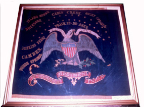 The 1st Kansas Colored Battle Flag with all the battles and campaigns that they fought in.