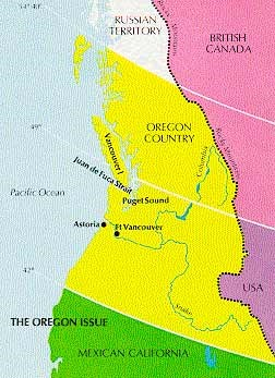 Map showing Oregon territory in yellow spreading across Canada and the US