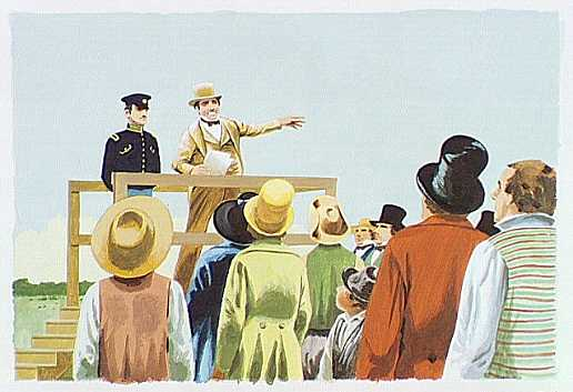 Artist Depiction of Auction at Fort Scott in 1855-artwork by Hugh Brown