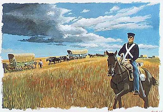 Dragoon Soldier on Horseback alongside Caravan of Covered Wagons