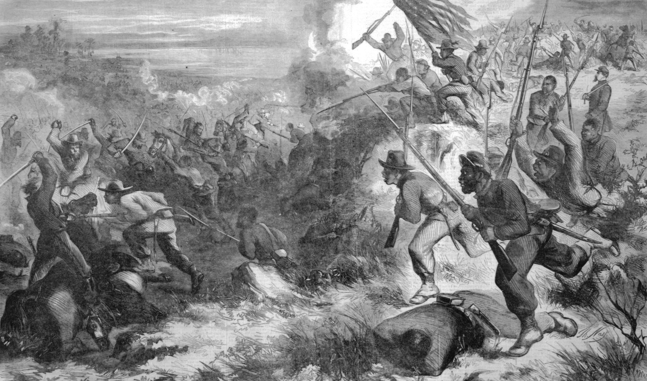 African American soldiers fighting at Island Mound