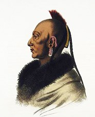 Le Soldat Du Chene, An Osage Chief painted by Mc Kenney and Hall, courtesy Library of Congress, Prints and Photographs Division