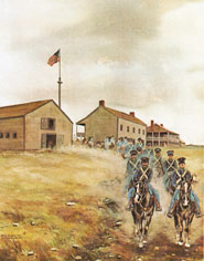 Off to War-soldiers leaving Fort Scott on an expedition. Artwork by Gary Hawk.