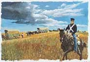 Dragoon Soldier escorting Oregon pioneers. Image by Hugh Brown