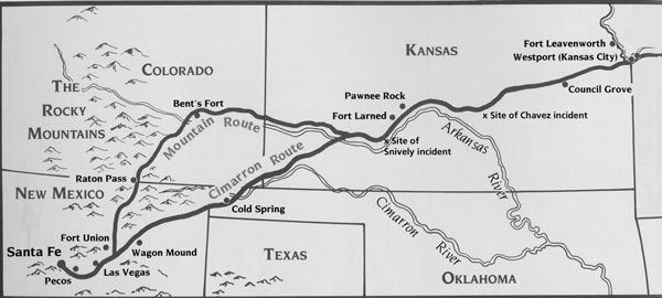 map of Santa Fe Trail from Kansas to New Mexico