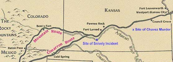 Map of the Santa Fe Trail with the Snively and Chavez incidents marked on it.