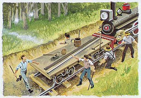 Attack on Railroad Workers by Land League art by Hugh Brown
