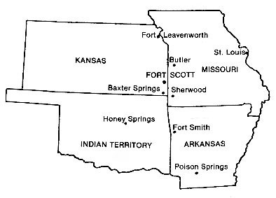 Map showing location of battles where 1st Kansas fought