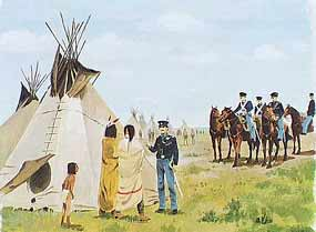 Dragoon soldiers meeting with Indian tribes. Image painted by Hugh Brown.