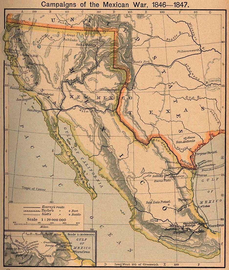 Map of Mexico and US in 1840s