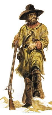 a man in buckskin clothing standing with a  musket