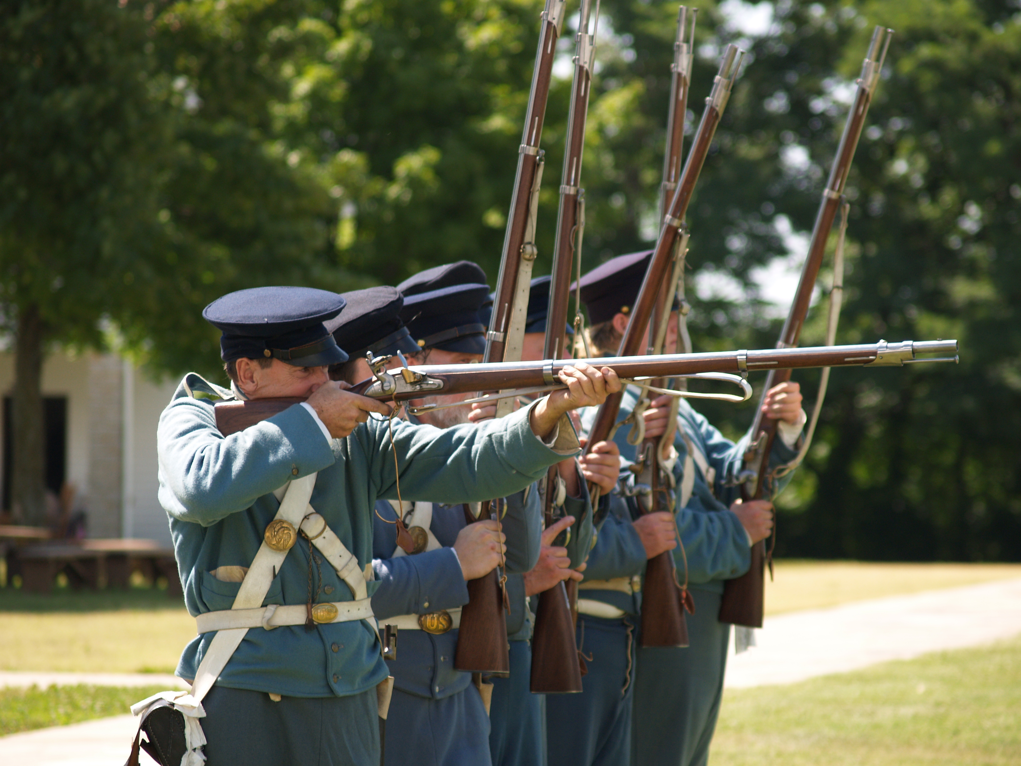 Infantry firing muskets