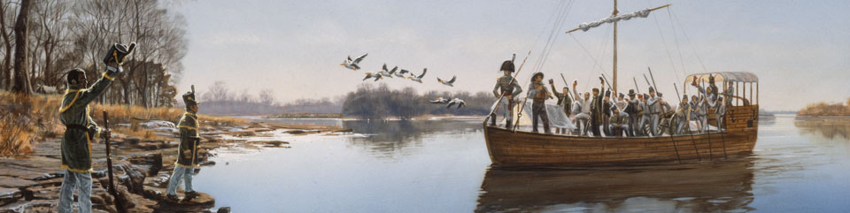 Rifle Regiment arriving at Belle Point, 1817. Artwork by Michael Haynes