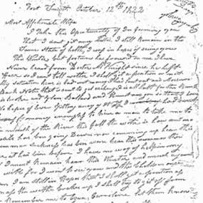 detail of handwritten letter from Kramer to his wife