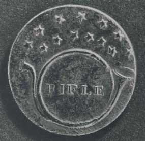 "Rifle Regiment button showing a bugle, bell to the left, with circular bend, mouthpiece horizontal, the word ""Rifle"" within the bend, 13 five point stars in two arcs above. Pattern (die) lines tend towards diffuse. 20 mm in diameter."