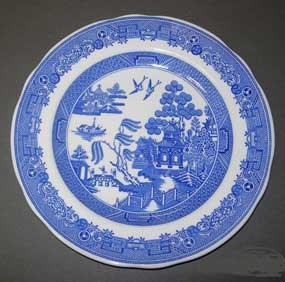 modern Blue Willow plate