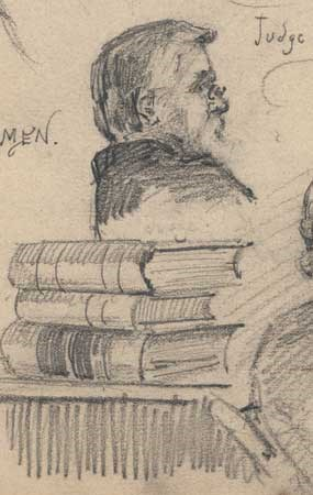 detail of courtroom sketch showing Judge Parker in profile with stack of law books in foreground