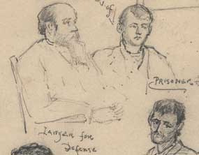 detail of late 19th century sketch of Fort Smith courtroom showing lawyers and prisoner