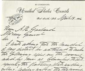letter written in Parker's handwriting on court letterhead