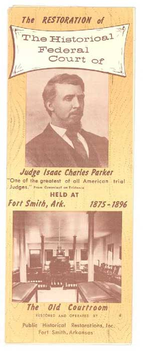 front of 1950s brochure showing courtroom and picture of Judge Parker