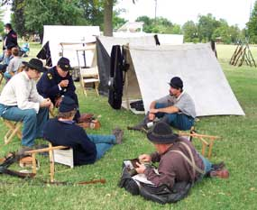 breakfast in camp during a Civil War living history event