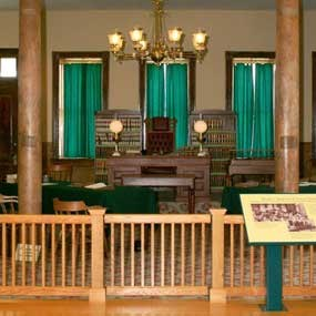 interior of courtoom as it looks today with Judge's bench in center of wall