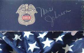 detail of flag box with Mrs. Johnson's name written on it
