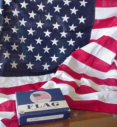 detail of American flag and its original box