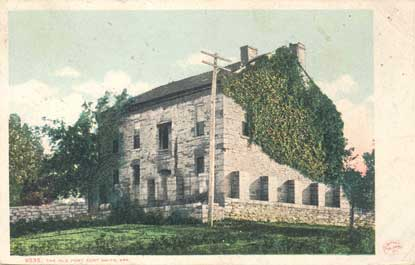 postcard showing fort wall next to Commissary